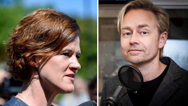 Pressträff med moderaternas partiledare Anna Kinberg Batra i Almedalen på lördagen. Till höger Ekots politiske kommentator Fredrik Furtenbach.
