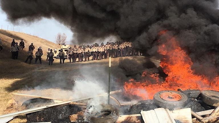 Protester mot oljeledning i North Dakota