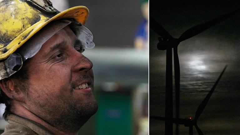 Delad bild: kolgruvearbetare och vindkraftverk i månljus.