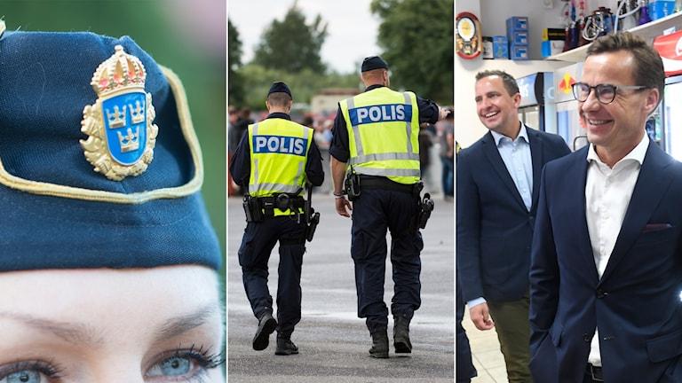 Tredelad bild: polismössa, två patrullerande poliser och två moderater i en närbutik