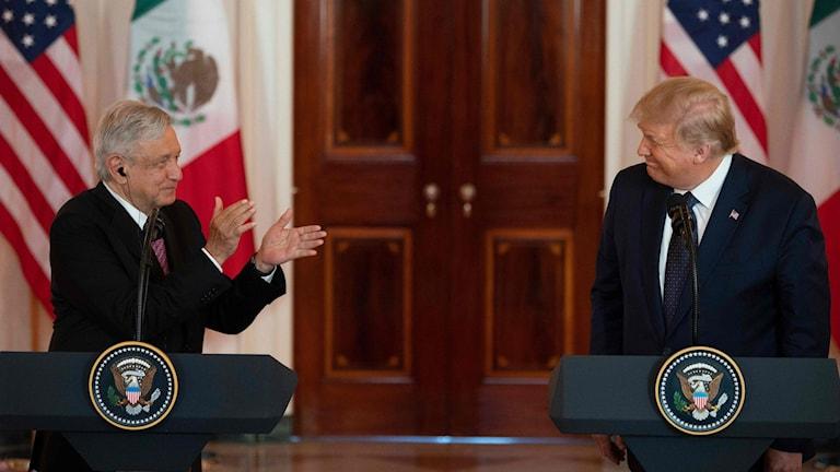 Presidenter på presskonferens.