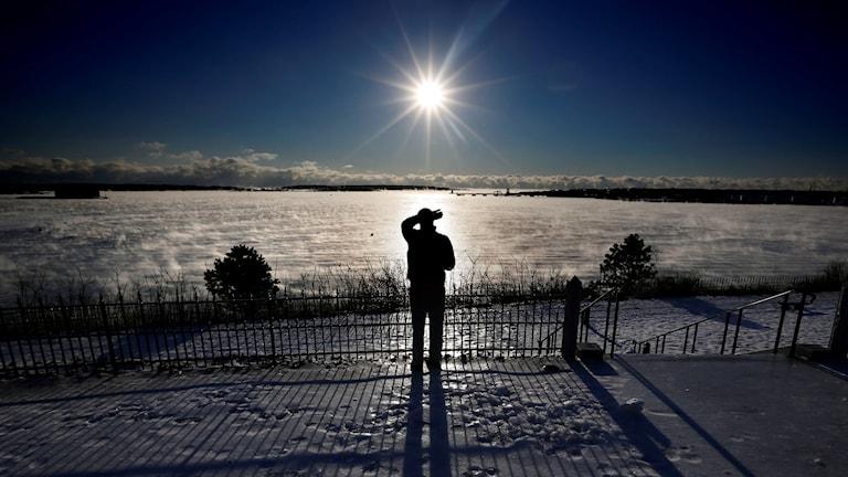 Sol, polarnatt, snö