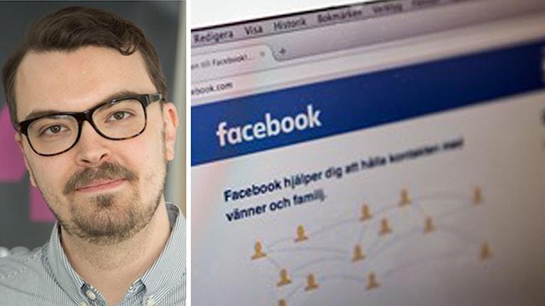 Ekots IT-reporter Joel Westerholm; Facebook. Foto: Åsa Stöckel, Sveriges Radio/Christine Olsson/TT. Montage: Sveriges Radio.