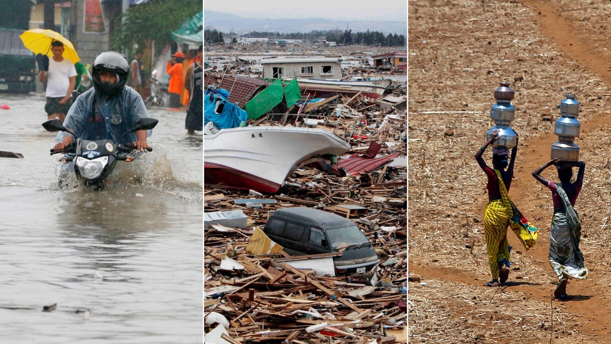 Tredelad bild: Översvämning, bråte och förödelse efter en tsunami och torka i Indien.