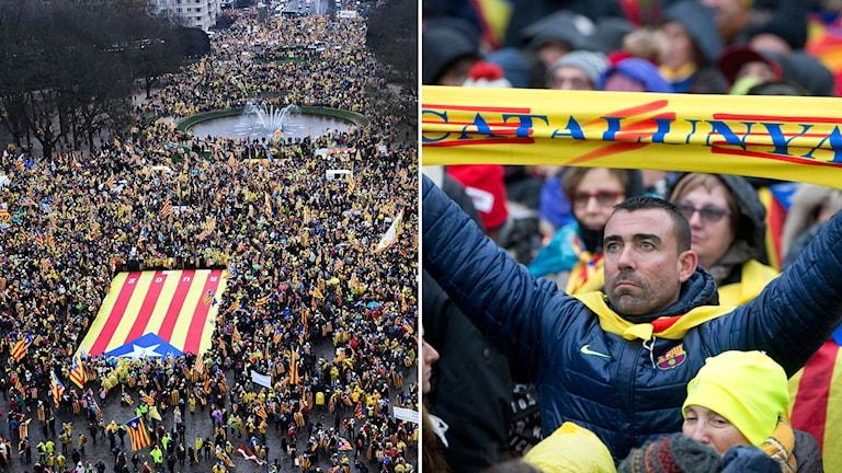 Katalaner håller manifestation utanför EU:s högkvarter i Bryssel. Gatorna är fulla av folk och den katalanska flaggan.