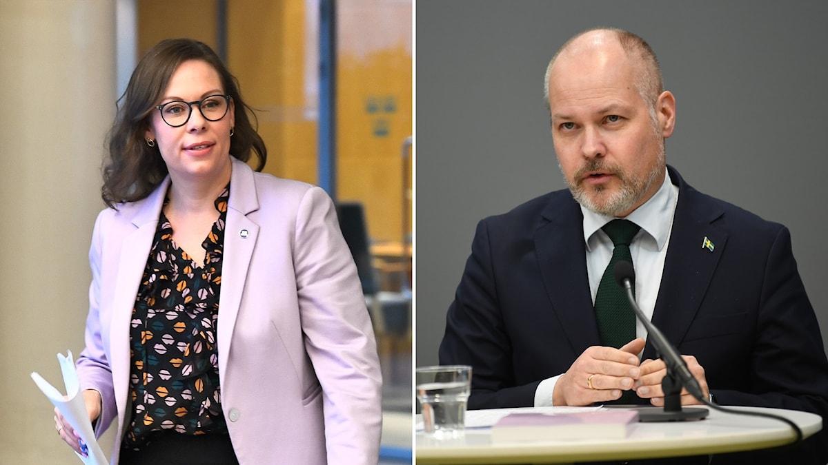 Moderaternas migrationspolitiska talesperson Maria Malmer Stenergård och justitie- och migrationsminister Morgan Johansson.