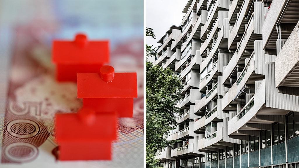 Delad bild: Illustrativ bild på hus och en bild på ett lägenhetshus.