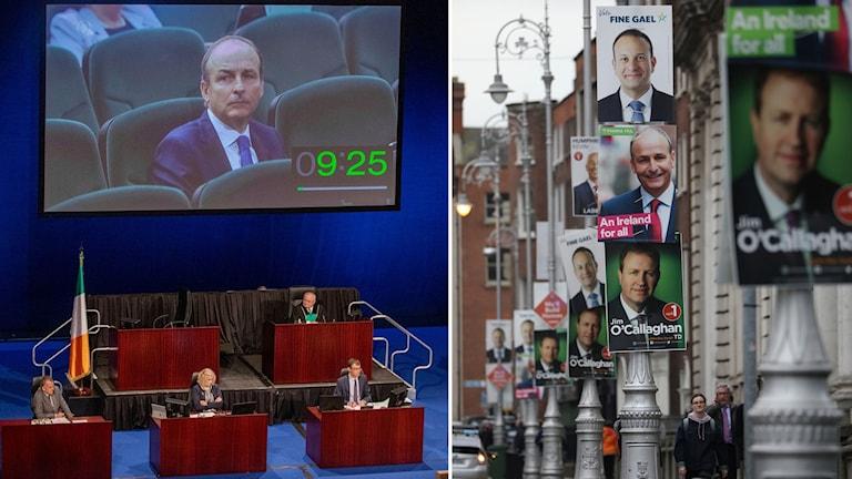 Montage på Irlands nya premiärminister är Micheál Martin från det borgerliga partiet Fianna Fáil och affischer från valkampanjen.