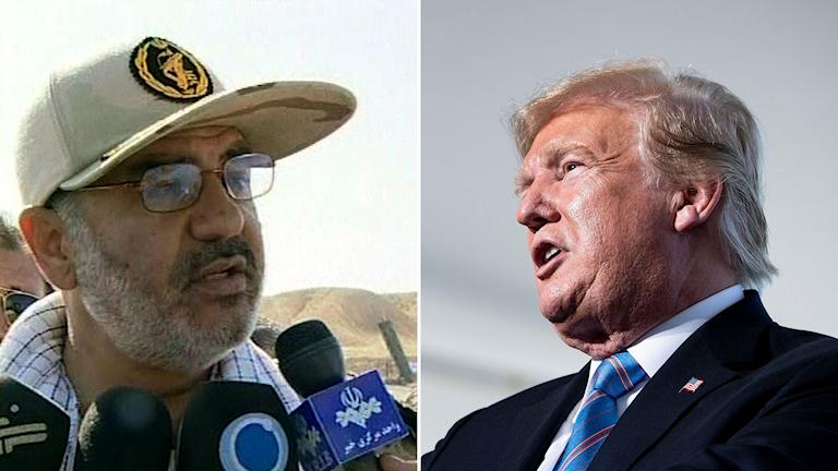General Hossein Salami för Irans revolutionsgarde och USA:s president Trump