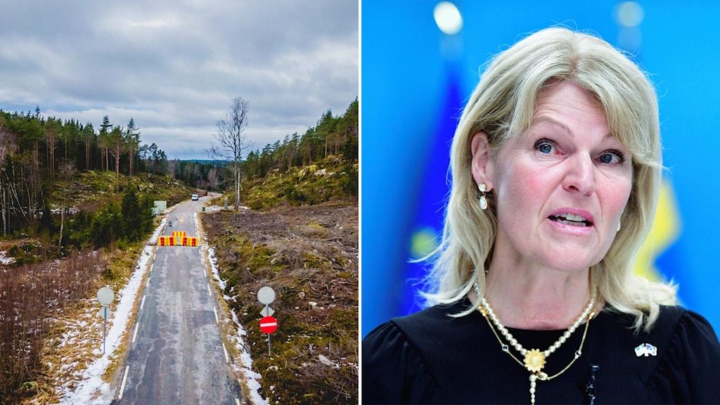 Tvådelad bild - på ena sidan norska gränsen avspärrad mot sverige sedd ovanifrån, på andra sidan en kvinna.