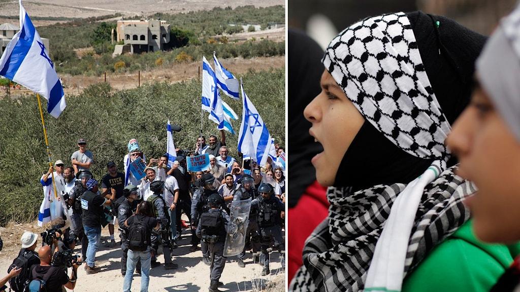 Delad bild: Israeler och palestinier i olika demonstrationståg.
