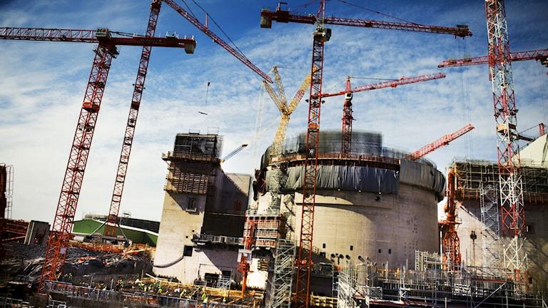 Ett bygge av en kärnreaktor i Finland.