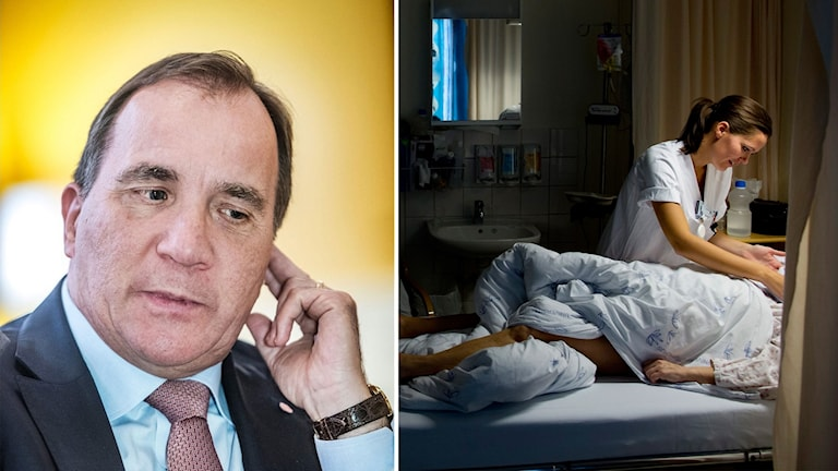 Delad bild: Stefan Löfven och en patient i en sjuksäng.
