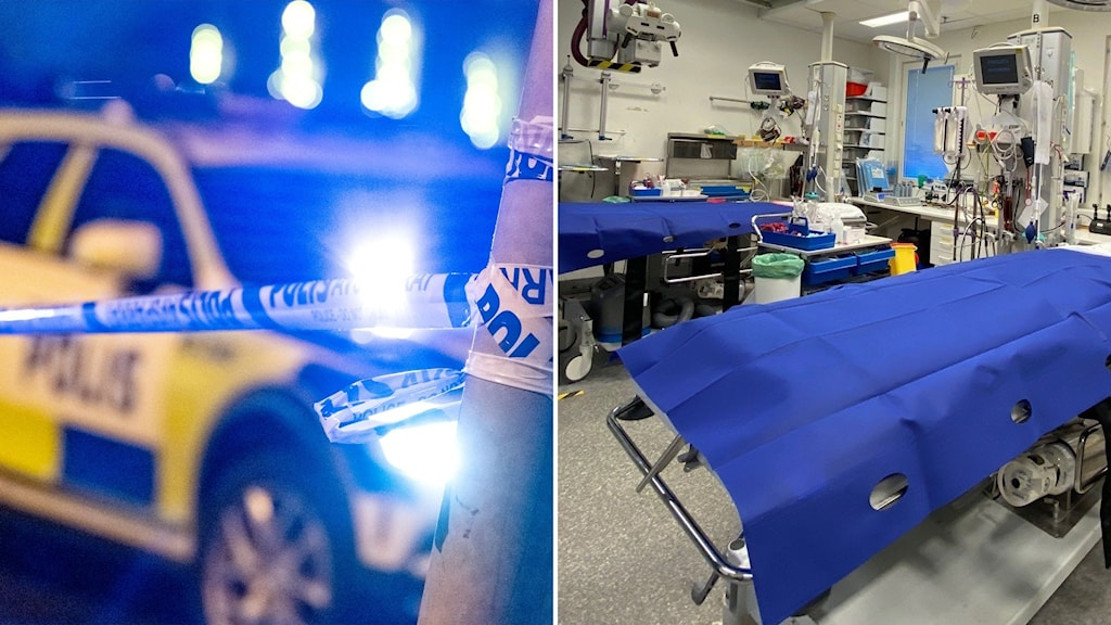 polisbil och sängar på akuten
