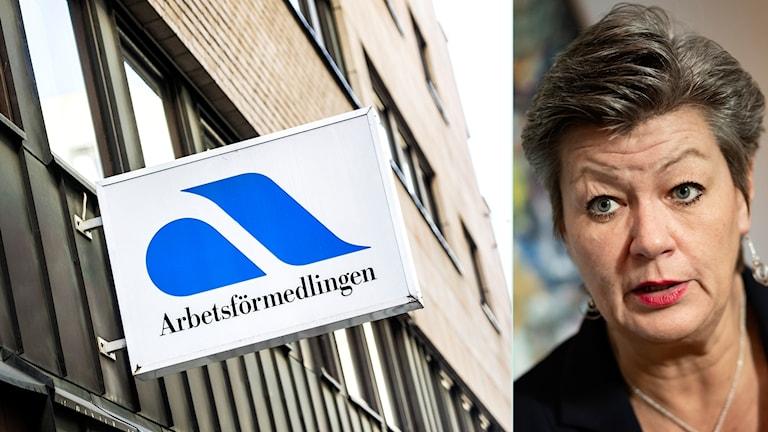 Ylva Johansson, skylt för Arbetsförmedlingen.