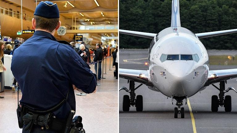 Fotomontage på polis och flygplan.