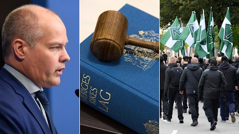 Tredelad bild: Justitieminister, lagbok och nazister som demonstrerar