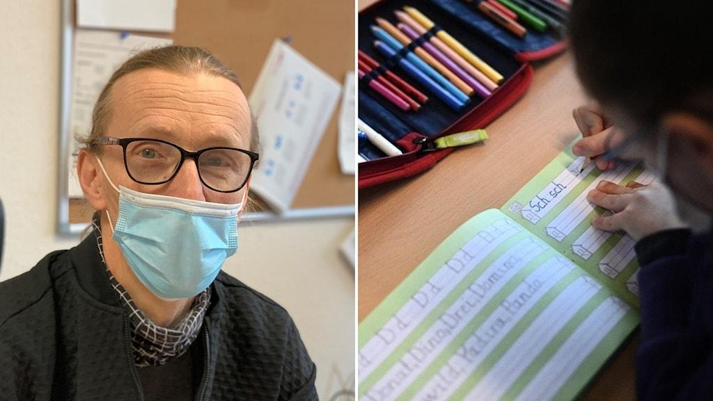 Man med munskydd och glasögon samt elev som skriver i bok