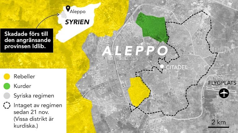 Aleppo den 13 dec. Källa: IHS conflict monitor 13 dec, BBC. Grafik: Liv Widell / Sveriges Radio