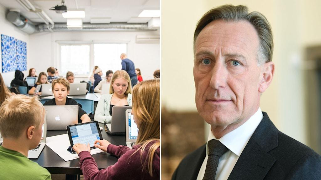 Skolelever och Svenskt näringslivs vd Jan-Olof Jacke.