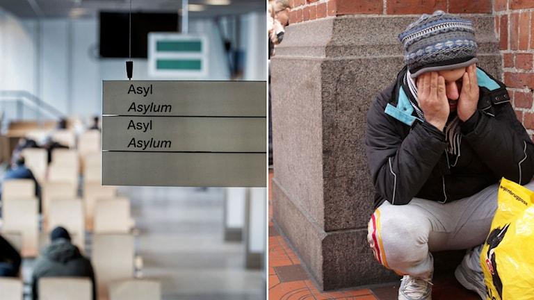 Skylt vid migrationsverket om var man ansöker om asyl. Man sitter på huk och håller för händerna.