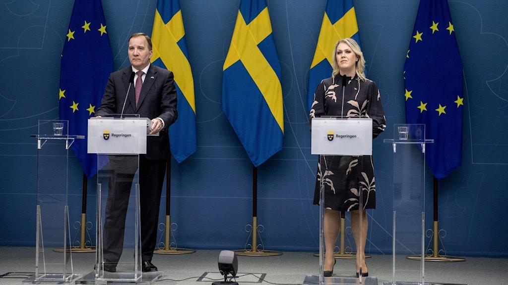 Statsminister Stefan Löfven och socialminister Lena Hallengren
