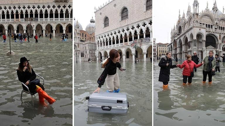 Stora översvämningar i Venedig.