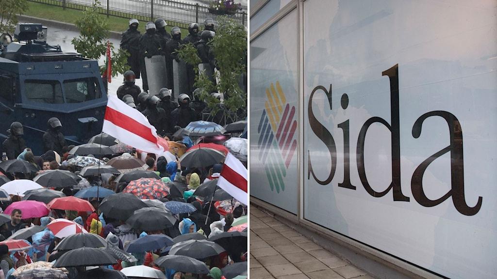 Demonstrationer i Belarus och bild på Sida