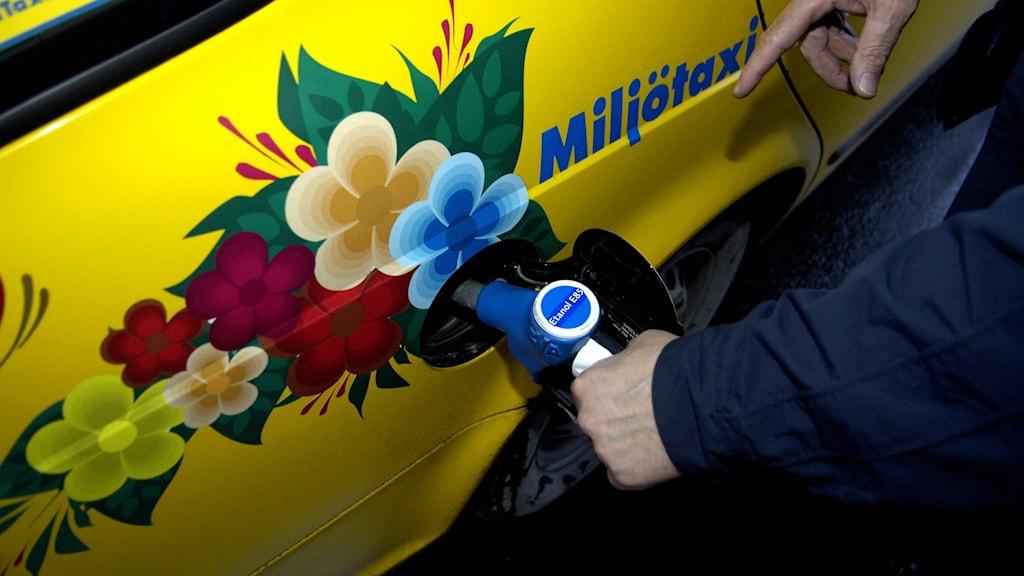 Biodrivmedel i tanken.