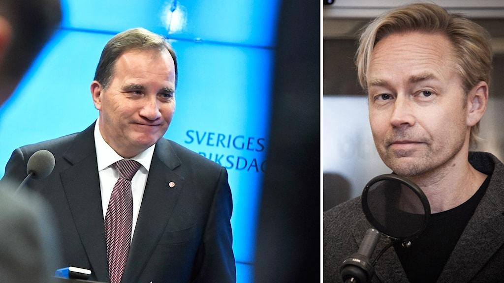 Stefan Löfven (S) och Ekots Fredrik Furtenbach.
