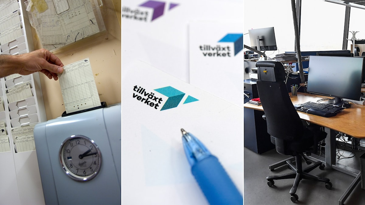 Tredelad bild: Stämpelklocka, en penna på ett papper från tillväxtverket, tom kontorsarbetsplats.