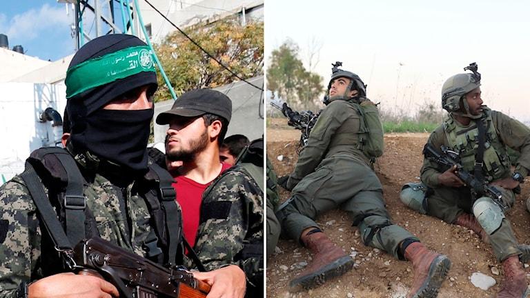 Al-Qassam Brigaderna och israeliska soldater vid gränsen till Gaza