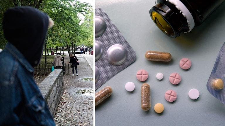 Tablettkartor, piller och en tablettburk.