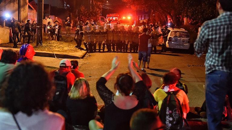 En av många protester mot att ex-president Lula da Silva dömts till fängelse.