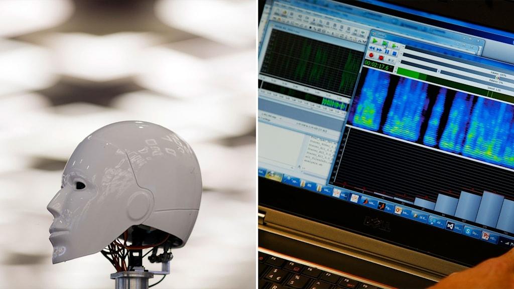 Robothuvud och ljudredigeringsprogram.