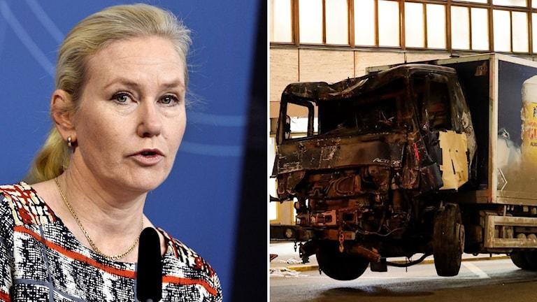 Kvinna som talar och en demolerad lastbil.