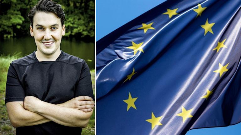 Liberala ungdomsförbundets ordförande Joar Forssell och en EU-flagga.