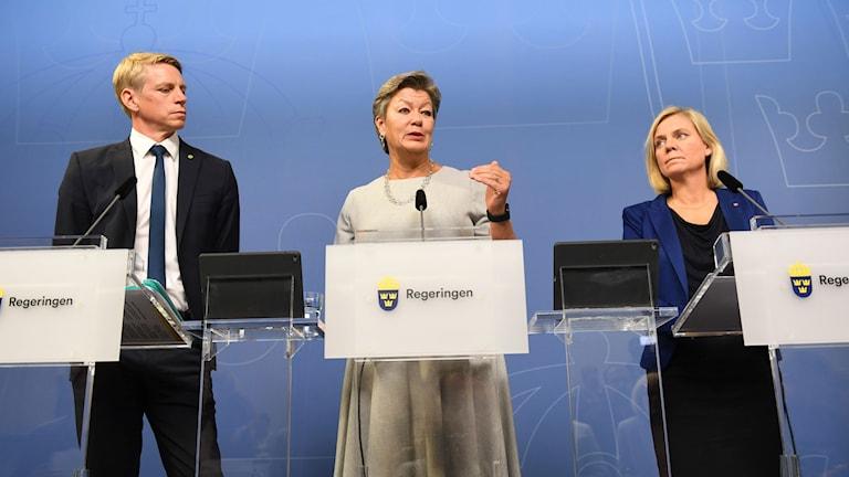 Per Bolund (MP), Ylva Johansson (S) och Magdalena Andersson (S).