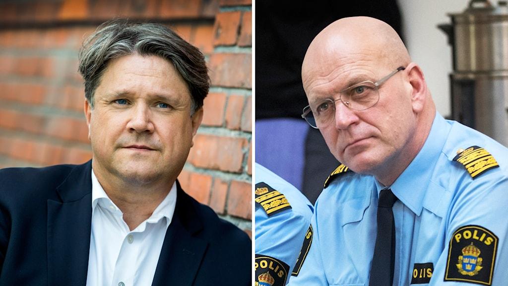 Terrorforskare Hans Brun och Storgöteborgs polisområdeschef Erik Nord.