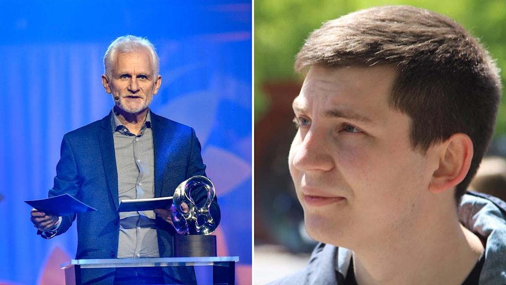 Delad bild med människorättsaktivisten Ales Bjaljatski till vänster och bloggaren Igor Losik till höger.