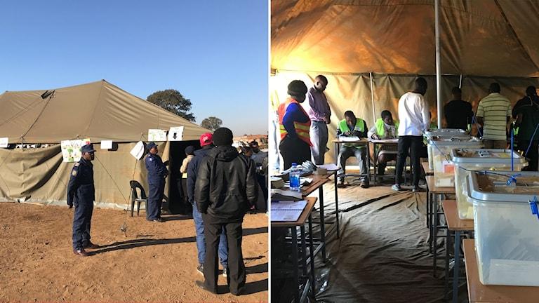 Utanför och inne i vallokal i Harare i Zimbabwe.
