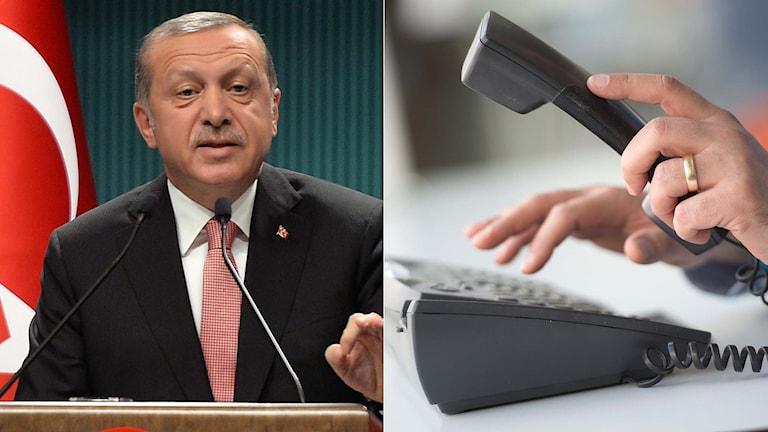 Turkiets president Erdogan och en person som ringer i en telefon.