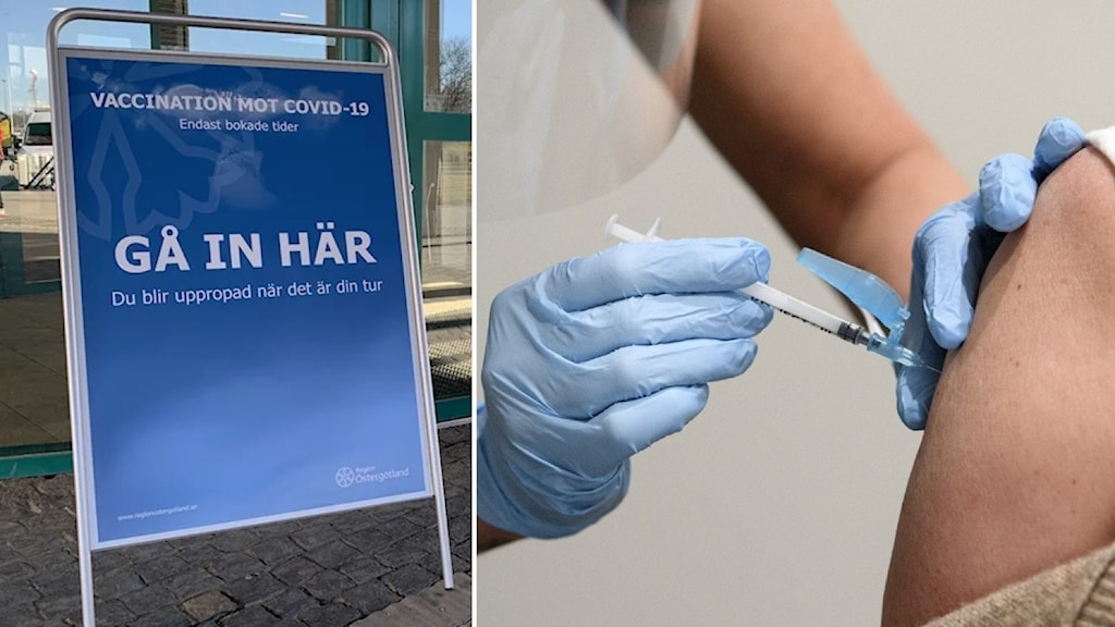 Till vänster en blå skylt med vit text som visar vägen till en vaccinationscentral. Till höger ger en sjuksköterska en person vaccin i armen.