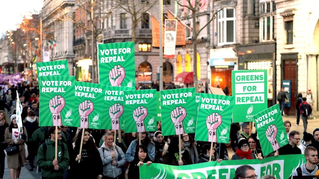 Demonstration för rätten till abort i Dublin, Irland, 8 mars 2018.