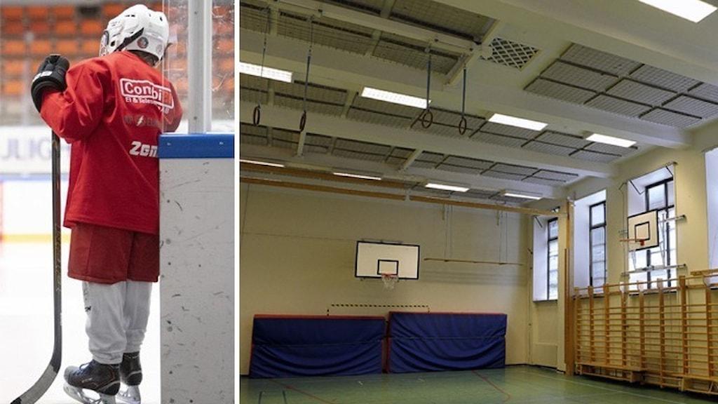 Bild på hockeyspelare och tom idrottshall.
