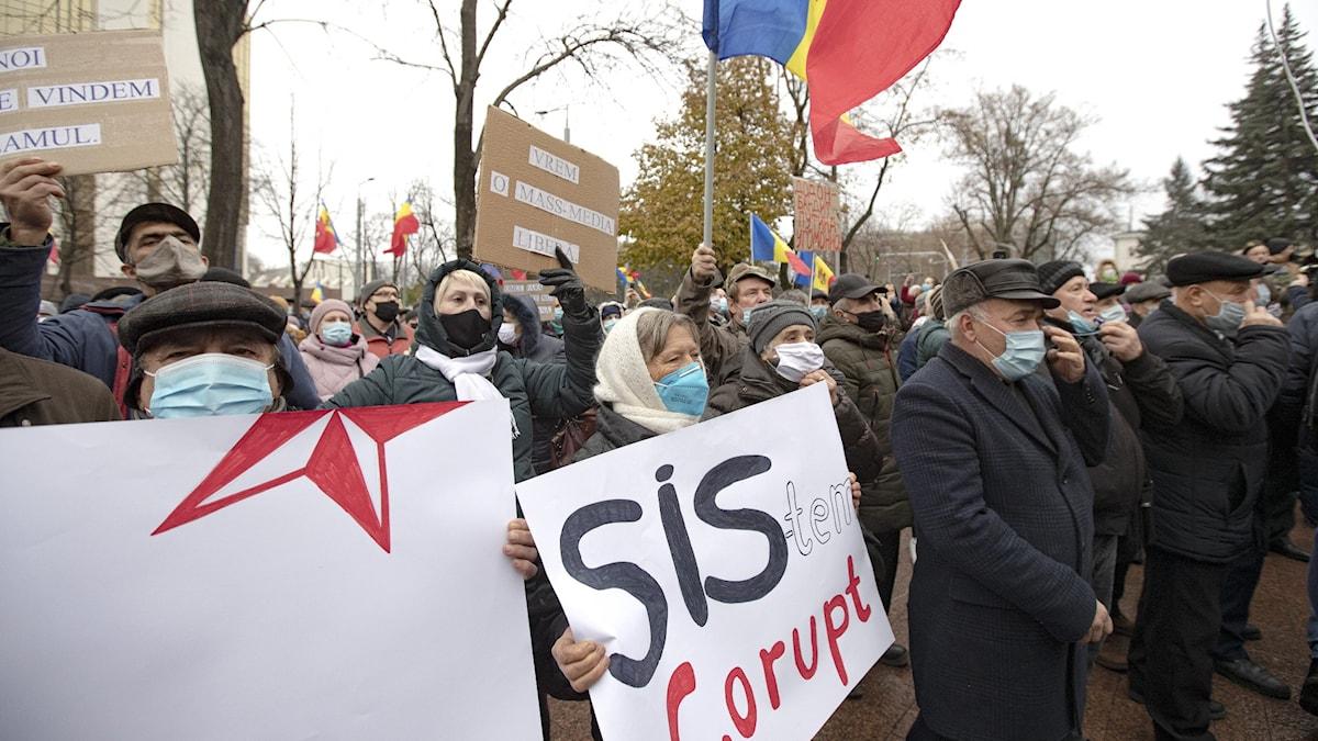 Protester i Moldaviens huvudstad.