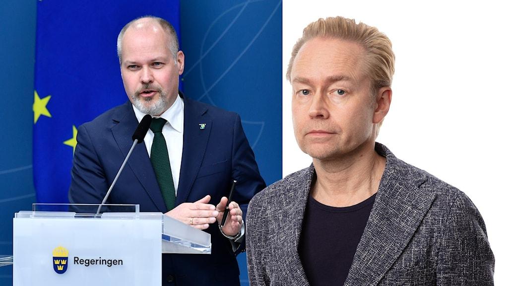 ustitie- och migrationsminister Morgan Johansson och Ekots politikkommentator Fredrik Furtenbach.