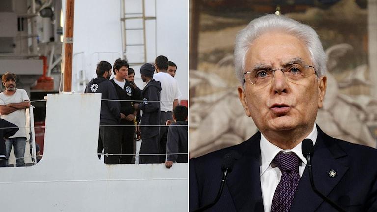 En migrantbåt och Italiens president Sergio Mattarella