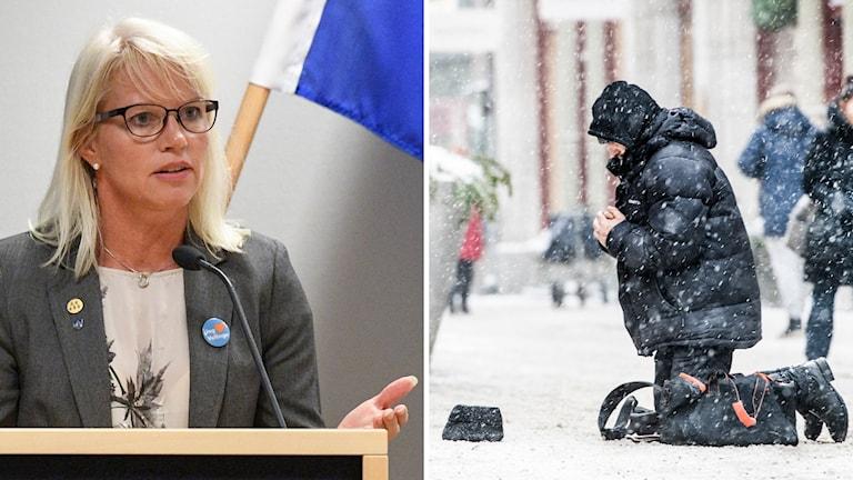 En kvinna och en person som ber om pengar i snön.