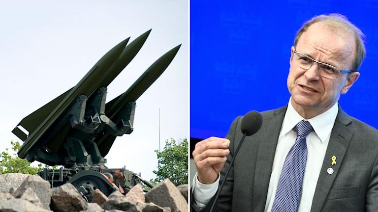Arkivbild på robot-70-system och Kristdemokraternas försvarspolitiska talesperson Mikael Oscarsson.